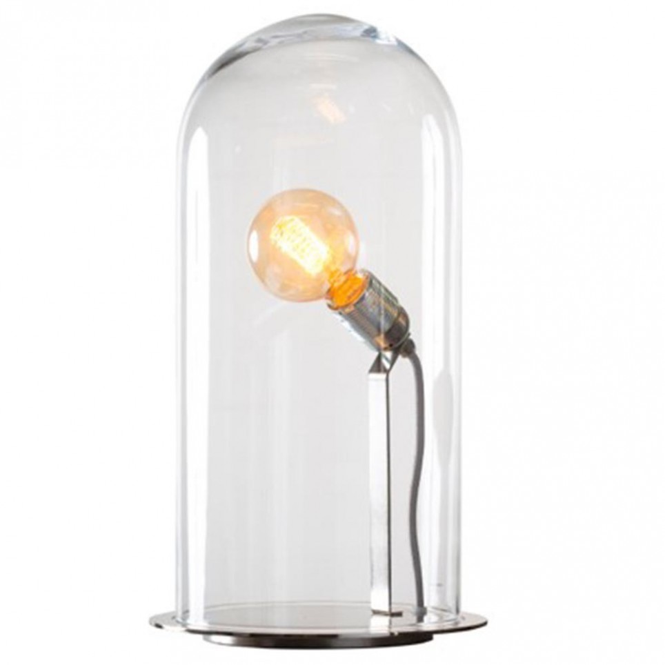 Globe verre transparent laiton s for Lampe a poser grande taille